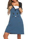 Wholesale Short Sleeve Maternity Casual Breastfeeding A-Line Dress-Sky Blue 4