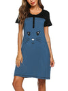 Wholesale Short Sleeve Maternity Casual Breastfeeding A-Line Dress-Sky Blue 1