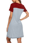 Wholesale Short Sleeve Maternity Casual Breastfeeding A-Line Dress-Deep Grey 2