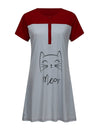 Wholesale Short Sleeve Maternity Casual Breastfeeding A-Line Dress-Deep Grey 4