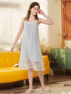 Cute Round Neckline Sleeveless Wholesale Cotton Pajamas for Girls-Blue 1