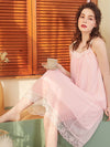 Cute Round Neckline Sleeveless Wholesale Cotton Pajamas for Girls-Pink 3