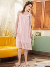 Cute Round Neckline Sleeveless Wholesale Cotton Pajamas for Girls-Pink 4