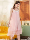 Cute Round Neckline Sleeveless Wholesale Cotton Pajamas for Girls-Pink 1