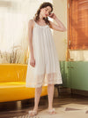 Cute Round Neckline Sleeveless Wholesale Cotton Pajamas for Girls-White 3