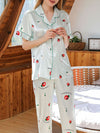 Two-Pieces Wholesale Printed Imitation Silk Pajamas Sets-Sky Blue 1