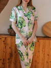 Two-Pieces Wholesale Printed Imitation Silk Pajamas Sets-Peach 1