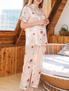 Two-Pieces Wholesale Printed Imitation Silk Pajamas Sets-Pink 1