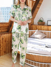 Two-Pieces Wholesale Printed Imitation Silk Pajamas Sets-Sky Blue 4