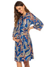 Wholesale V Neck Long Sleevepregnant Printing Belt Sleepwear -Sky Blue 2