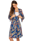 Wholesale V Neck Long Sleevepregnant Printing Belt Sleepwear -Sky Blue 3