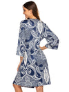 Wholesale V Neck Long Sleevepregnant Printing Belt Sleepwear -Navy Blue 2