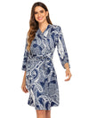 Wholesale V Neck Long Sleevepregnant Printing Belt Sleepwear -Navy Blue 1