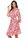Wholesale V Neck Long Sleevepregnant Printing Belt Sleepwear -Pink 3