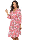 Wholesale V Neck Long Sleevepregnant Printing Belt Sleepwear -Pink 4