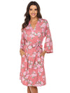 Wholesale V Neck Long Sleevepregnant Printing Belt Sleepwear -Pink 1