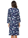 Wholesale V Neck Long Sleevepregnant Printing Belt Sleepwear -Sapphire Blue 2