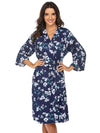 Wholesale V Neck Long Sleevepregnant Printing Belt Sleepwear -Sapphire Blue 3