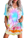 Feminine Colorfyl Tie-Dye Pajama Suit With Shorts-Sky Blue 1