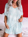 Feminine Colorfyl Tie-Dye Pajama Suit With Shorts-Sapphire Blue 1