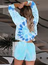 Tie-Dye Printed Round Neck Long Sleeves Pajamas Suit-Coral 2