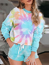 Tie-Dye Printed Round Neck Long Sleeves Pajamas Suit-Coral 1