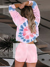 Tie-Dye Printed Round Neck Long Sleeves Pajamas Suit-Pink 2