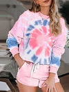 Tie-Dye Printed Round Neck Long Sleeves Pajamas Suit-Pink 1