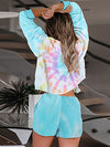Tie-Dye Printed Round Neck Long Sleeves Pajamas Suit-Sapphire Blue 2