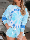 Tie-Dye Printed Round Neck Long Sleeves Pajamas Suit-Sapphire Blue 1