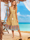 Elegant Wholesale Sleeveless Summer Dress with Deep V-neck-Yellow 2