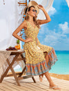 Elegant Wholesale Sleeveless Summer Dress with Deep V-neck-Yellow 3