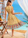Elegant Wholesale Sleeveless Summer Dress with Deep V-neck-Yellow 4