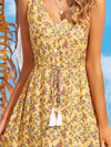 Elegant Wholesale Sleeveless Summer Dress with Deep V-neck-Yellow 5