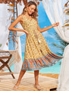 Elegant Wholesale Sleeveless Summer Dress with Deep V-neck-Yellow 1