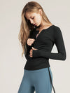 Cute Long Sleeve Wholesale Workout Tops For Sports And Yoga-Black 1