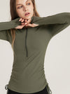 Cute Long Sleeve Wholesale Workout Tops For Sports And Yoga-Green 2