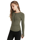 Cute Long Sleeve Wholesale Workout Tops For Sports And Yoga-Green 1