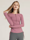 Cute Long Sleeve Wholesale Workout Tops For Sports And Yoga-Lavender 1