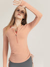 Cute Long Sleeve Wholesale Workout Tops For Sports And Yoga-Pink 2