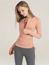 Cute Long Sleeve Wholesale Workout Tops For Sports And Yoga-Pink 1