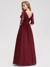 Long Lace 3/4 Sleeve Women Formal Evening Party Dresses Eb07713-Burgundy 2