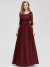 Long Lace 3/4 Sleeve Women Formal Evening Party Dresses Eb07713-Burgundy 1