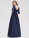 Long Lace 3/4 Sleeve Women Formal Evening Party Dresses Eb07713-Navy Blue 2