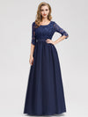 Long Lace 3/4 Sleeve Women Formal Evening Party Dresses Eb07713-Navy Blue 1