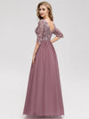 Long Lace 3/4 Sleeve Women Formal Evening Party Dresses Eb07713-Orchid 2