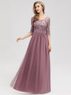 Long Lace 3/4 Sleeve Women Formal Evening Party Dresses Eb07713-Orchid 1