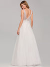 Deep V Neck Pretty Wedding Dresses Eb07833-White 2