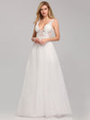 Deep V Neck Pretty Wedding Dresses Eb07833-White 3