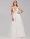Deep V Neck Pretty Wedding Dresses Eb07833-White 1